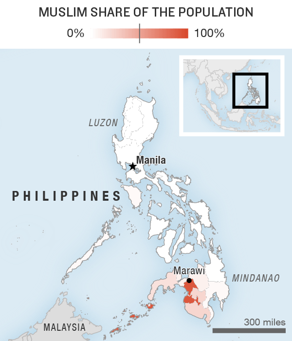 Map showing the location of the Philippines and the share of the population that is Muslim