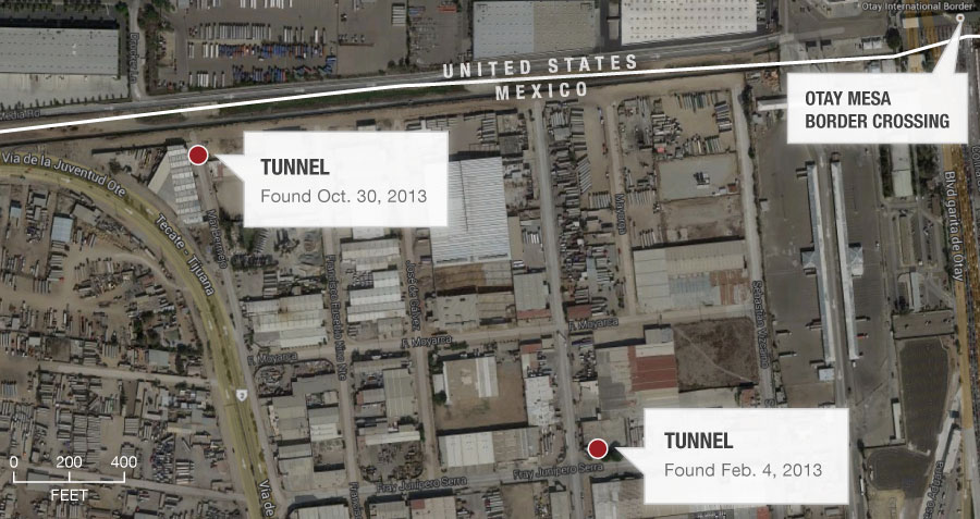 Map of two tunnel locations near the Otay Mesa border crossing