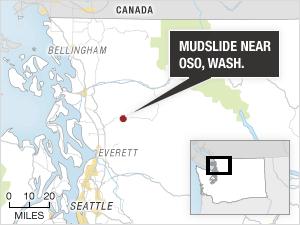 Locator map of the mudslide near Oso, Wash.