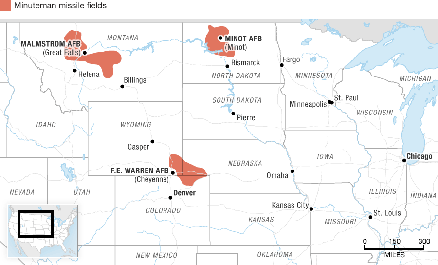 Map of active Minuteman missile fields