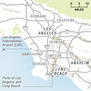 Map of the Los Angeles metro area