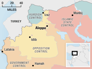 Map showing zones of government, opposition, ISIS and Kurdish control around Aleppo