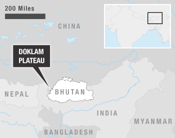 Map showing the Doklam Plateau and surrounding areas