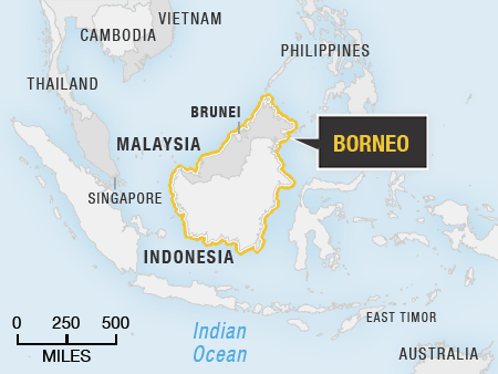 Map showing the location of Borneo