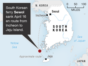 The ferry that sank Wednesday off the southern coast of South Korea had been headed to Jeju Island.